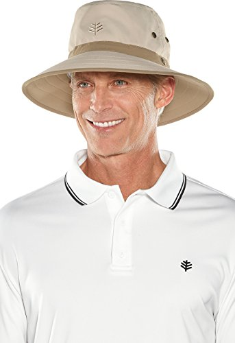 Uv Care Protective Sun (Coolibar UPF 50+ Men's Matchplay Golf Hat - Sun Protective (Large/X-Large- Tan/Khaki))