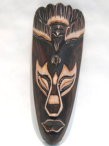 Wooden African Mask Tiki Mask Tribal Bali Art Wood Wall Decor Mask 9 1/2