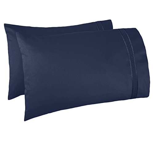 Nestl Bedding Set of 2 Premium Pillowcases – Luxury Super Soft 100% Double Brushed Microfiber, Hypoallergenic & Breathable Design, Soft & Comfortable Hotel Luxury – Standard/Queen - Navy Blue
