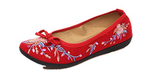 Ladies Slip Flat Women on Sandal Embroidery Crown Loafer and Tianrui Shoe Shoe Red Fxtwq