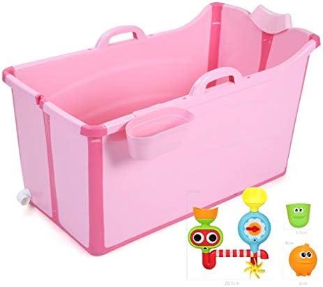折りたたみ式浴槽ポータブル大型プラスチックバスタブ、家計はadultelを肥厚しました (Color : Pink)