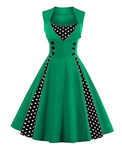 ANCHOVY Womens Rockabilly Swing Dress 1950s Retro Sleeveless Floral Print C62 (Green dot, M)