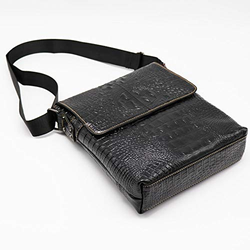Coffee Color 2019 New Fashion Alligator Genuine Cow Leather Vintage Mens Messenger Bag Cross Body Shoulder Bags Casual/&Business Zipper Pack For Ipad