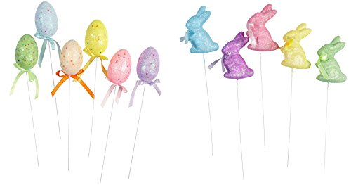 r Egg and Bunny Shaped Easter Basket Flower Picks, Set of 11 (Multicolor Glitter & Sequin) ()