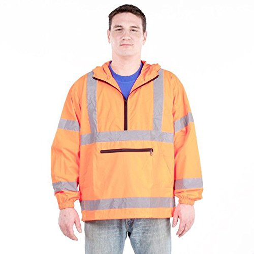 Utility Pro Uhv658 Nylon High Vis Packable Pullover With Hood With Dupont Teflon Fabric Protector   Orange   2X Large