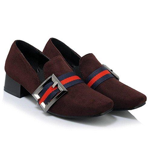 COOLCEPT Women Fashion Square Toe Court Shoes Dark Brown uMZfSNe