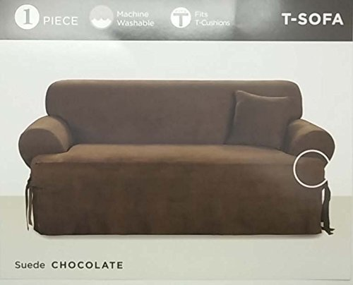 (Surefit - One Piece Suede T-Sofa Slipcover - Chocolate)