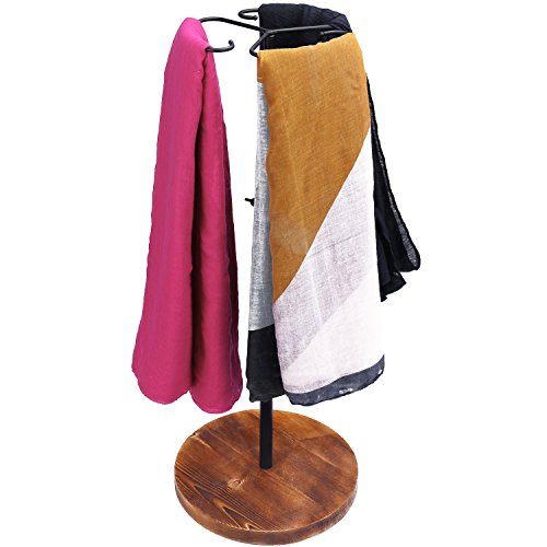 Cashmere Fixture (MyGift 24-Inch Adjustable Height Scarf Display Rack with Wooden Base)