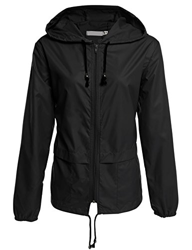 cosway Womens Waterproof Rainwear Lightweight Hoodie Raincoat Outdoor Sport Jacket