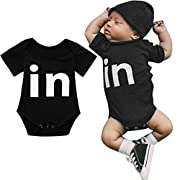 FDelinK Newborn Infant Baby Boys Girls Clothes Bodysuit Twins Letter Print Romper Creepers Jumpsuit Outfits (Black-in, 3-6 Months)