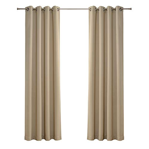 Solid Grommet top Thermal Insulated Window Blackout Curtains for Kids Bedroom, 52 x 95 Inch, Beige, 1 Panel