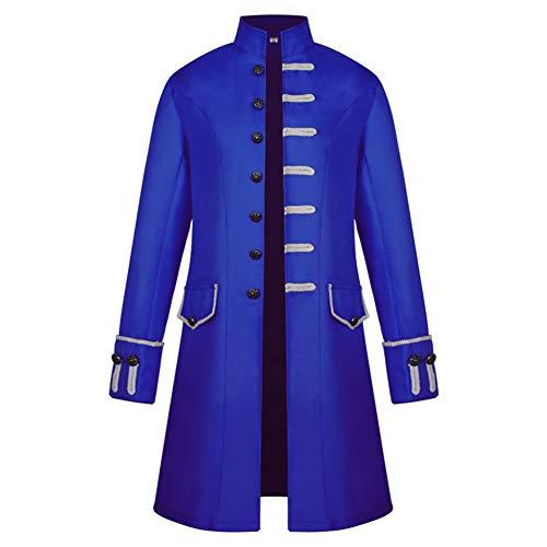 ACE SHOCK Vintage Medieval Cosplay Jacket, Halloween Steampunk Costume Coat Frock Tuxedo Uniform (Tag Size-XXL, Royal -
