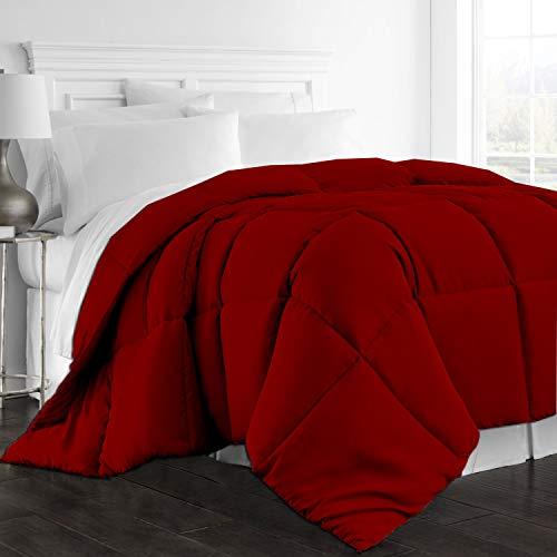 All Season Goose Down Alternative Comforter, 1000-TC Twin/ Twin XL Size Luxury Comforter 1-PC Hypoallergenic 100% Egyptian Cotton Comforter Hotel Quality Soft 600 GSM, Burgundy Solid (68″x90″)