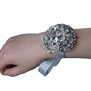 Engerla Silver Bridal Corsage Bridesmaid Wrist Flower Corsage for Wedding 117