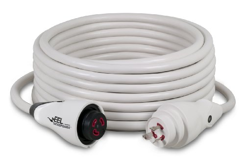 50' White Shore Cord - Marinco EEL 30-Amp 125-Volt Cord Set, White, 50-Feet