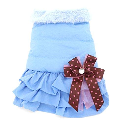 SMALLLEE_LUCKY_STORE Tutu Dress Winter Coat Pleated Skirt Jacket Fleece Lined Pet Clothes, Medium, - Lined Skirt Houndstooth