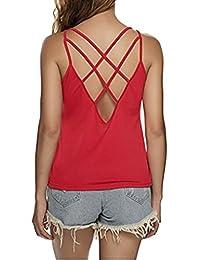 Assivia Women's Sexy Criss Cross Back Tank Tops Loose Camisole Vest