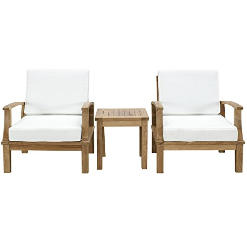 Modern Contemporary 3 Pcs Outdoor Patio Teak Sofa Set, White Wood