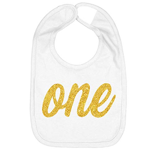 Handmade Cute Baby Boy Girl Silver Gold First Birthday Smash Cake Bibs - My 1st Birthday Bib (One Gold White) 1st Birthday Girl Bib