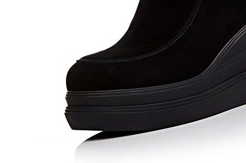 Amoonyfashion Dames Ronde Neus Gesloten Neus Hoge Hakken Laarzen Met Platform En Rubberen Zolen Zwart