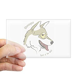 CafePress Utonagan 'Spirit of The Wolf' Sticker (Rectangular Rectangle Bumper Sticker Car Decal 27
