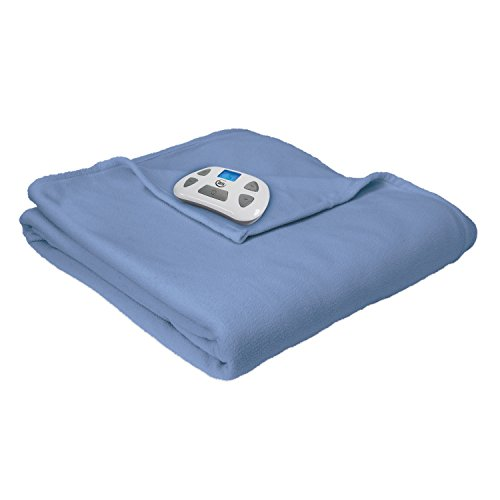 Serta Heated Electric Fleece Blanket  with Programmable Digital Controller, Twin, Slate Blue Model 0917