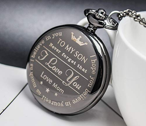 Bijours Black Vintage Quartz Roman Numerals Necklace Pocket Watch Gift,to My Son, Never Forget That I Love You, Love Mom, Suitable for Son's Birthday, Wedding and Important Day Best Gift for Son by Bijours (Image #2)