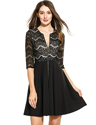 - Beyove Women Half Sleeve Front Zip A Line Lace Fit Flare Knee Length Cocktail Dress Black,M