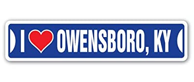 [SignJoker] I LOVE OWENSBORO, KENTUCKY Street Sign ky city state us wall road décor gift Wall Plaque Decoration