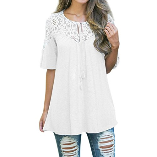 Paymenow Clearance Women Girls Lace Patchwork Summer Tassel Flare Sleeve T Shirts Loose Swing Tops Blouse (White, (Patchwork Tassel)