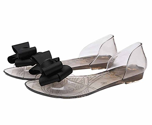 Vokamara Chaussures Femme Bow Peep Toe Jelly Sandale Plat Slip Sur Les Chaussures Noir fgDbM