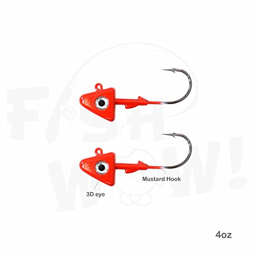 Fish WOW! 2pcs 4oz Shad Jig Head 32786 MUSTAD Hook 2X Strong 9/0 Black Nickel Hooks Jigheads - Red