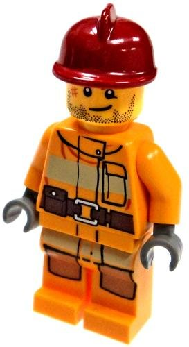 LEGO City LOOSE Mini Figure Male Firefighter Red Helmet & Orange Gear