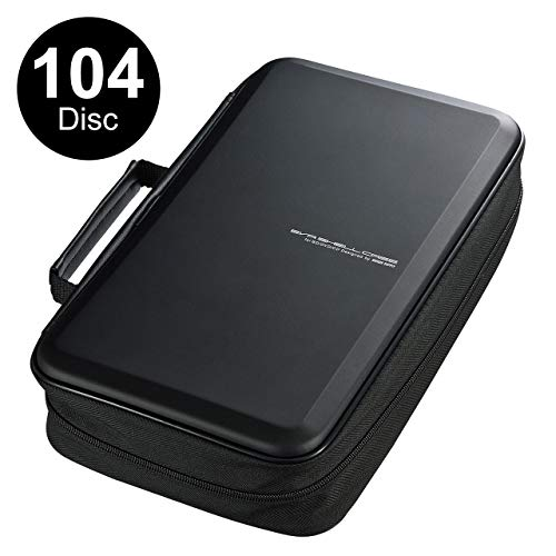 - SANWA 【Japan Brand】 104 Capacity CD/DVD/VCD/Blu-ray Case Wallet, Large Capacity, Binder, Storage, Holder, Booklet for Car, Home, Office,Classroom,(Lighter Type),Black