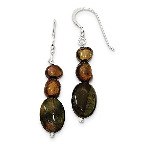Mia Diamonds 925 Sterling Silver Tiger's Eye and Brown Fw Cultured Pearl Earrings (44mm x (Clip Tigers Eye Earrings)