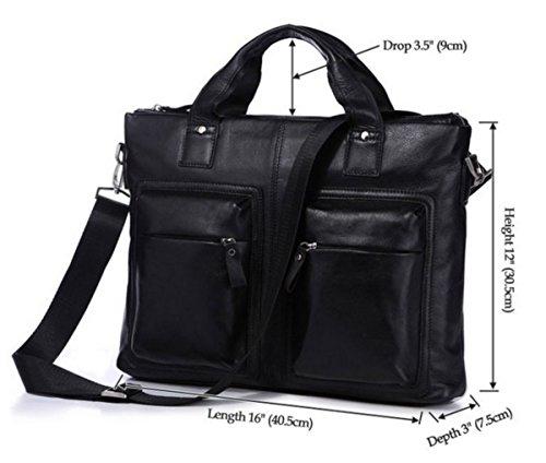 Real De Loyofun Para Piel Hombre Auténtica Bag Laptop Negro El Hombro Maletín AwaO4