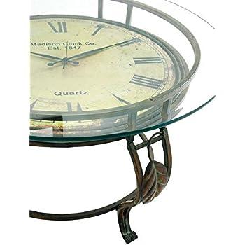 Amazoncom Deco 79 Metal Clock Table 24 by 19Inch HomeKitchen