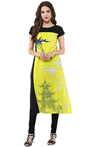 Janasya Women's Yellow Digital Printed Crepe  Kurti (JNE1122.B-YELLOW-KR09-L)