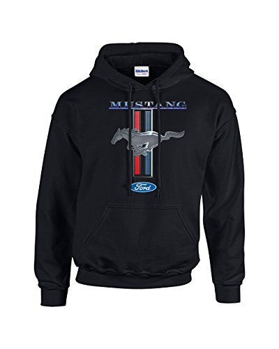 Ford Mustang Hooded Sweatshirt Mustang Pony Design-Black-XL ()