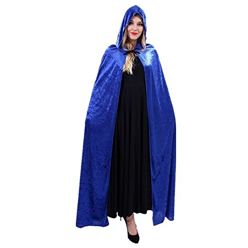 Women Halloween Costume Velvet Hooded Cloak Dress up Cosplay Wizard Party Capes Blue