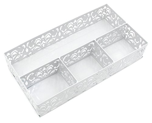 EasyPAG Carved Hollow Flower Pattern Collection Desk Accessories Organizer White