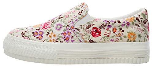 XIAXIAN Floral Pattern Canvas Korean Style Breathable Shoes(5.5 B(M) US, Pinkflower)