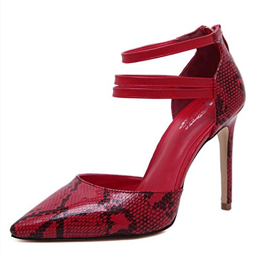 Office Shoes Women'S Platform Dress Toe Heels Pointed Heels Casual Career Heel amp; Red 10cm Red Yellow 8TAAqgx