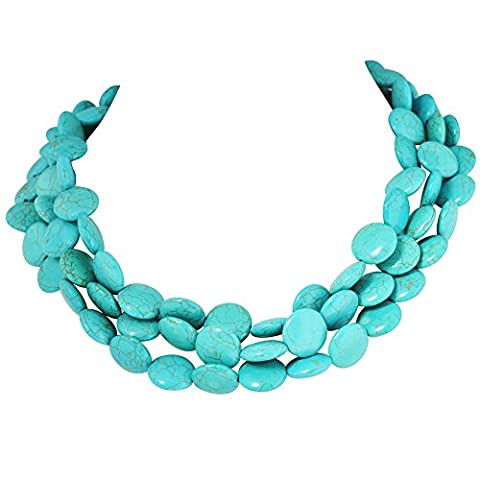 Jane Stone Classic Turquoise Chunky Triple Row Bead Strand Collar Necklace Statement Layered (Multi Strand Statement Necklace)