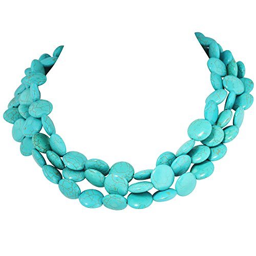 Jane Stone Classic Turquoise Chunky Triple Row Bead Strand Collar Necklace Statement Layered Jewelry (Turquoise Rows Necklace Blue)