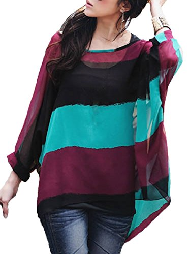 iNewbetter Womens Floral Batwing Sleeve Chiffon Beach Loose Blouse Tunic Tops (Pattern 35)