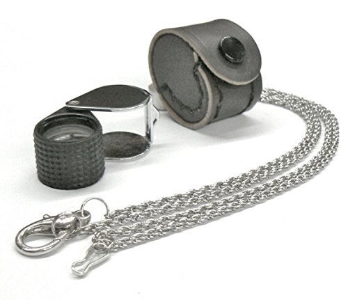 LOUPE JEWELERS 10X TRIPLET 18MM BLACK RUBBER & SILVER LEATHER CASE & FREE CHAIN (E 4) NOVELTOOLS
