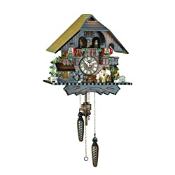 Quartz Cuckoo Clock Black forest house with music, moving wood-cutter, turning dancers and mill-wheel, incl. batteries TU 442 QMT