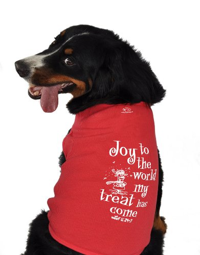 Ruff Ruff and Meow Dog Tank Top, Joy to the World, Red, Extra-Large
