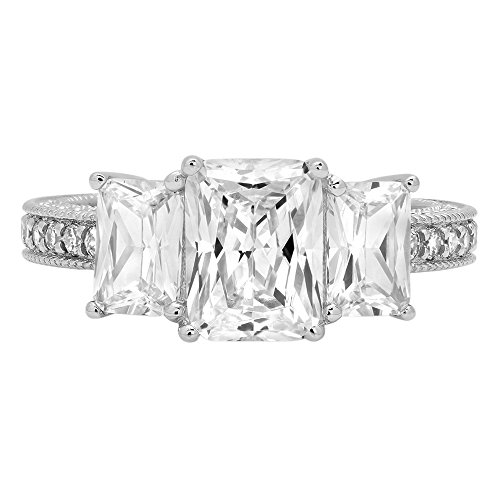 4.16ct Brilliant Emerald Cut Accented 3 Stone Promise Anniversary Statement Engagement Bridal Wedding Band Ring For Women Solid 14k White Gold, 5.25 by Clara Pucci (Image #3)